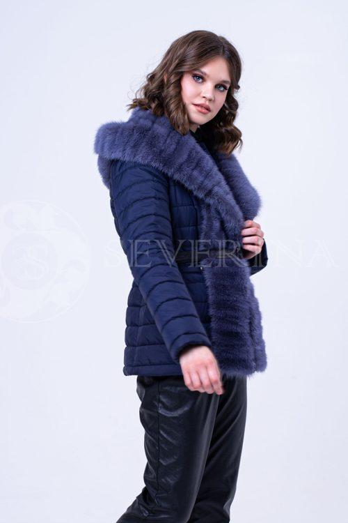 kurtka korotkaja sinjaja steganka norka kapjushon 1 500x750 - куртка со съёмным капюшоном из меха норки