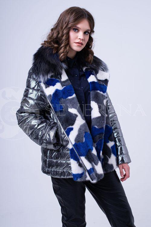 kurtka steganka norka serebro kamufljazh sinij 1 500x750 - куртка с отделкой цветным мехом норки