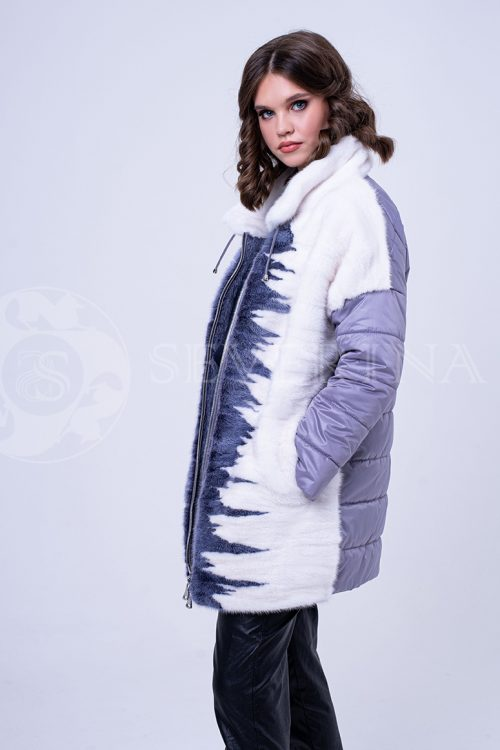 куртка с отделкой цветным мехом норки