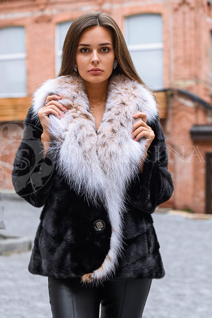 шуба из меха скандинавской норки с мехом рыси