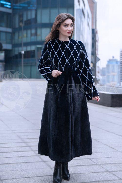 norka romb t.sinjaja jelina 1 500x750 - шуба из комбинированного меха норки pastel