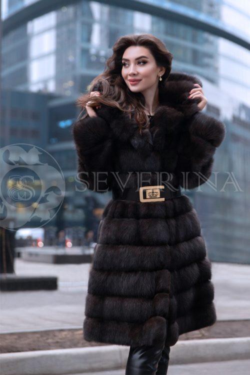 """sobol kapjushon jelina 1 500x750 - куртка """"косуха"""" из меха овчины с отделкой мехом норки"""
