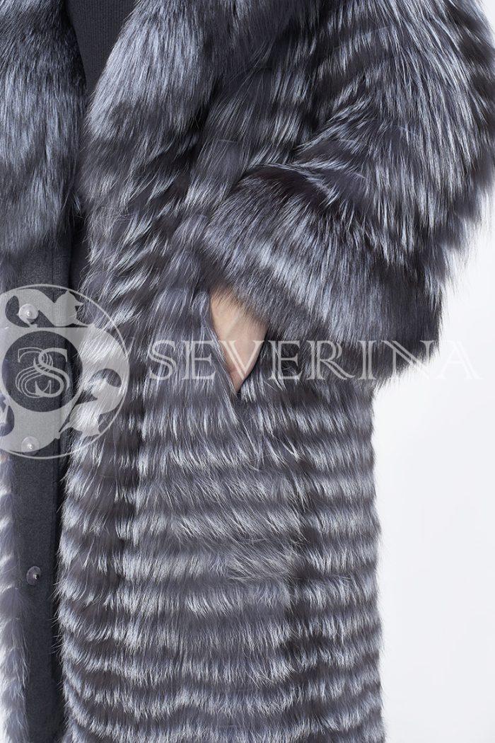 шуба из меха серебристо-черной лисы