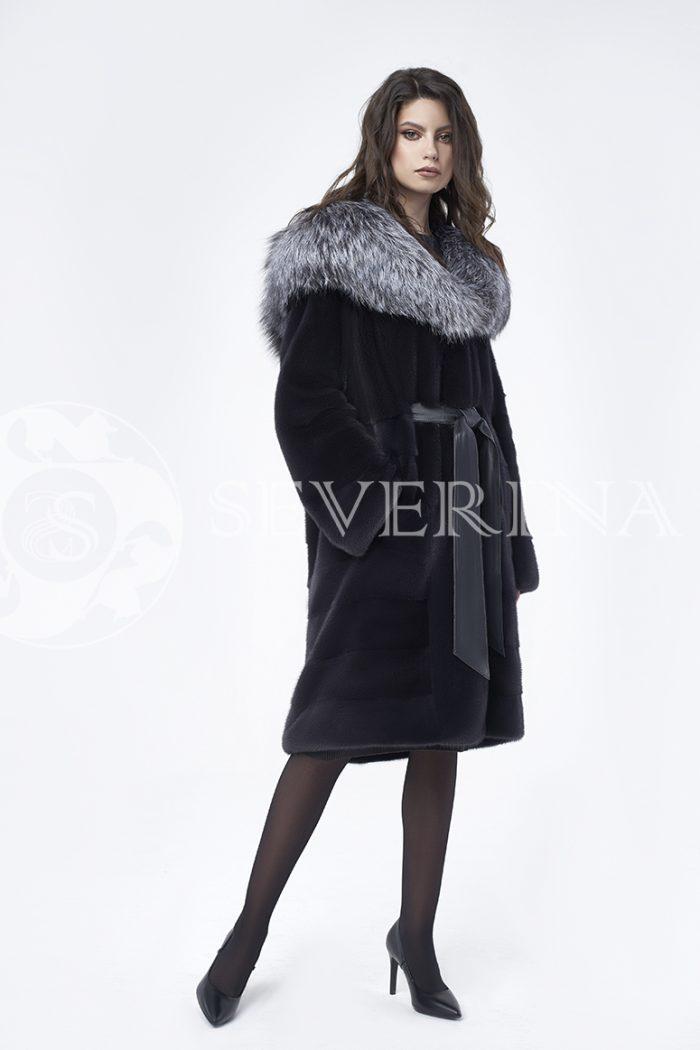 doletskiy 0668 700x1050 - шуба из меха скандинавской норки с капюшоном из меха серебристо-черной лисы