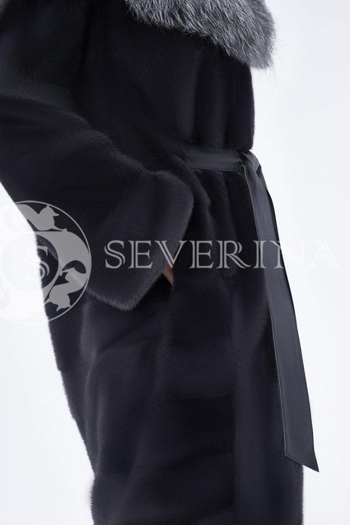 doletskiy 0682 700x1050 - шуба из меха скандинавской норки с капюшоном из меха серебристо-черной лисы