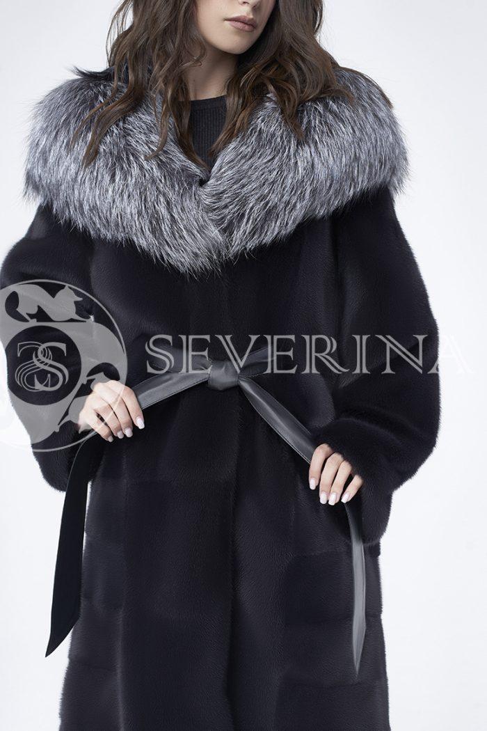 doletskiy 0686 700x1050 - шуба из меха скандинавской норки с капюшоном из меха серебристо-черной лисы
