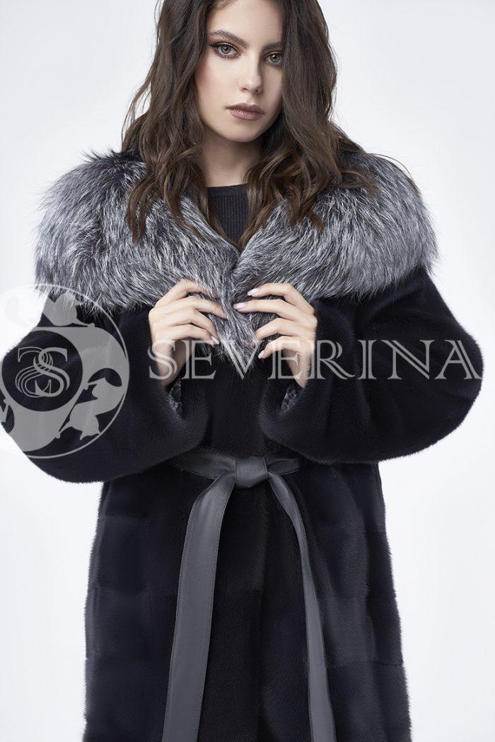 doletskiy 0690 700x1050 - шуба из меха скандинавской норки с капюшоном из меха серебристо-черной лисы