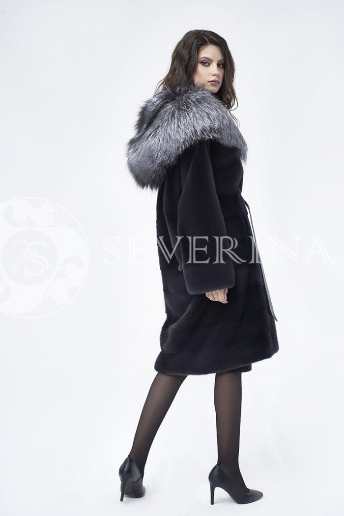 doletskiy 0702 700x1050 - шуба из меха скандинавской норки с капюшоном из меха серебристо-черной лисы