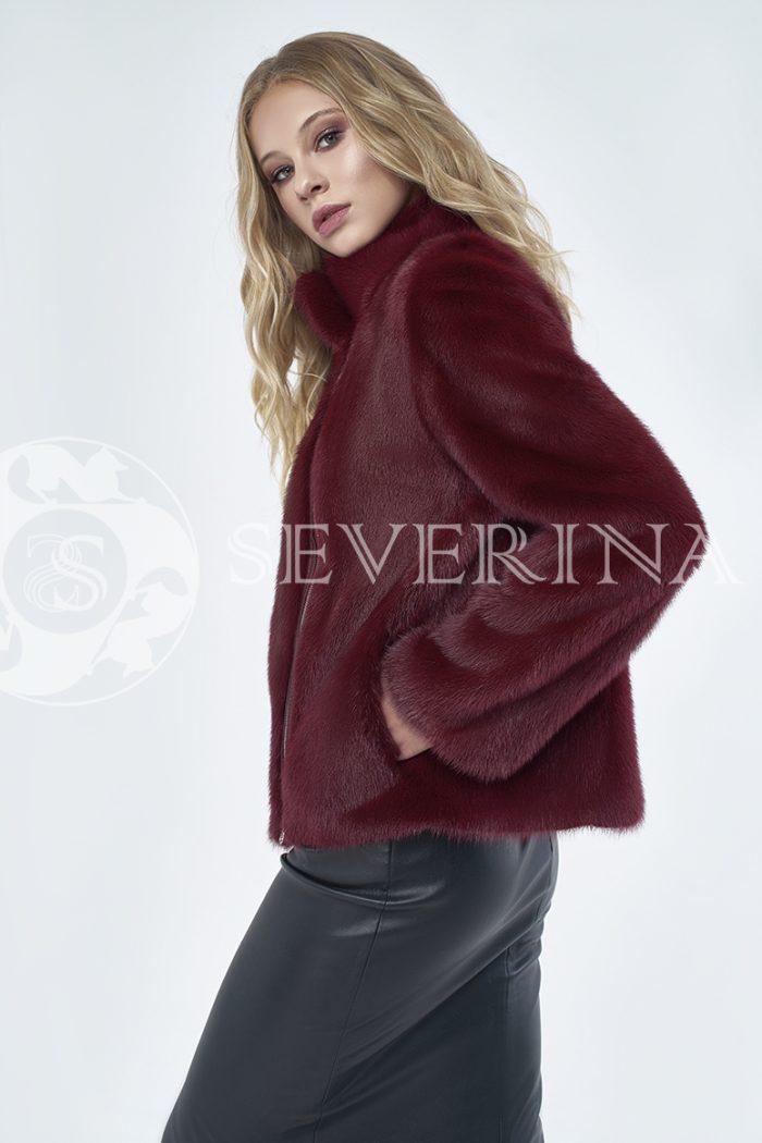 """шуба-куртка """"косуха"""" из меха норки тёмно-красного цвета"""
