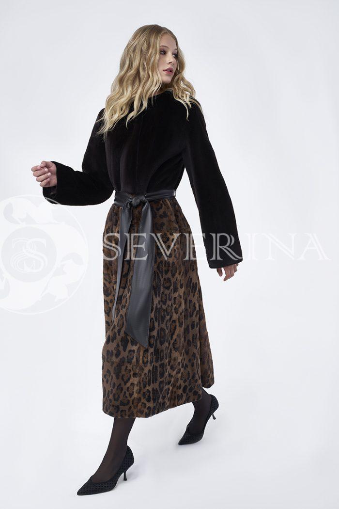 doletskiy 0016 700x1050 - шуба из стриженного меха норки в комбинации с леопардовым принтом