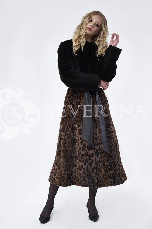 doletskiy 0027 500x750 - шуба из стриженного меха норки в комбинации с леопардовым принтом