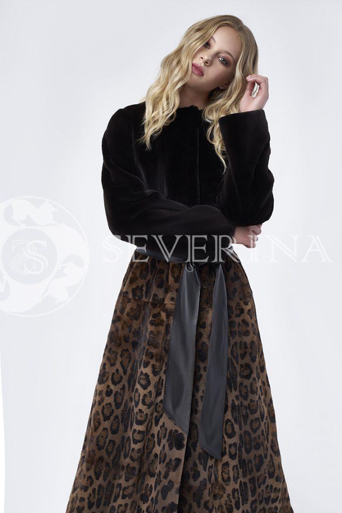 doletskiy 0032 700x1050 - шуба из стриженного меха норки в комбинации с леопардовым принтом
