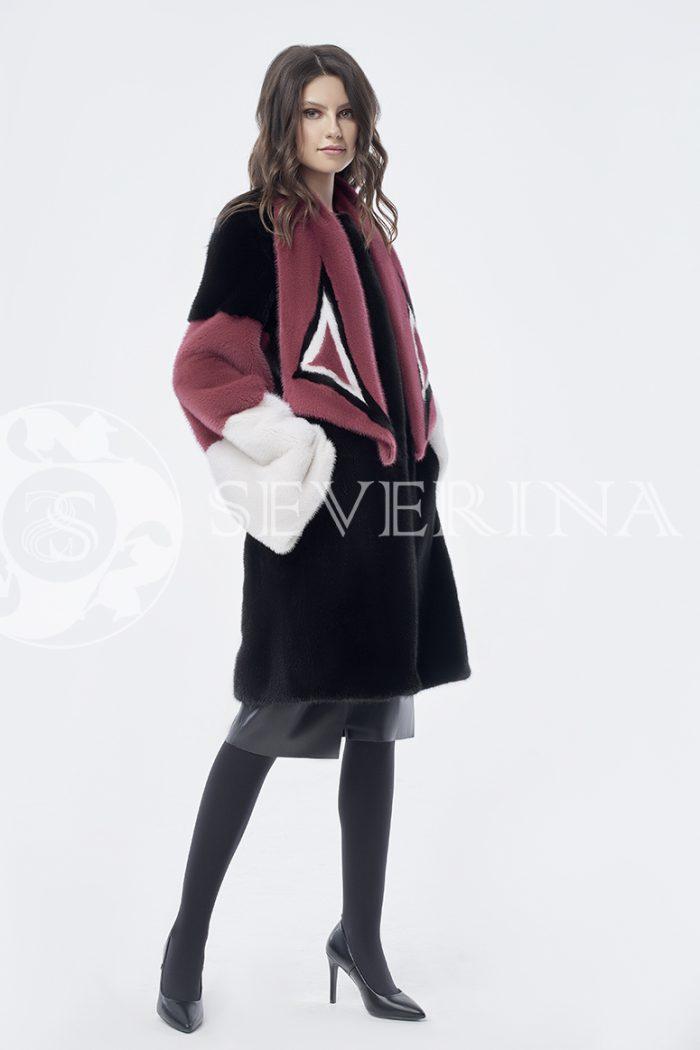 doletskiy 0828 700x1050 - шуба из комбинированного цветного меха норки со съёмным воротником-шарфом