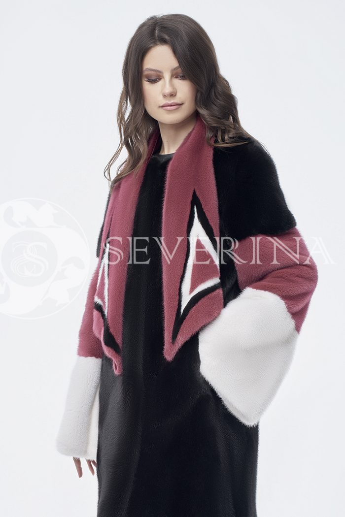 doletskiy 0829 700x1050 - шуба из комбинированного цветного меха норки со съёмным воротником-шарфом
