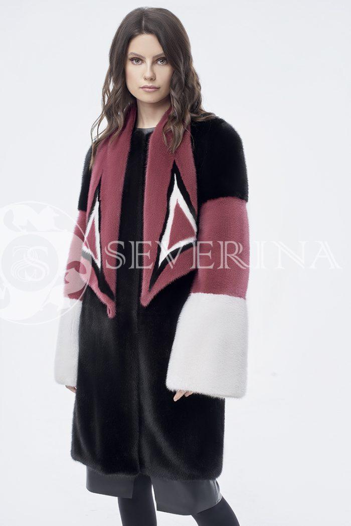 doletskiy 0834 700x1050 - шуба из комбинированного цветного меха норки со съёмным воротником-шарфом