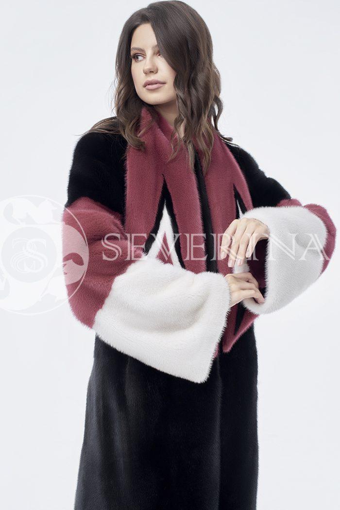 doletskiy 0838 700x1050 - шуба из комбинированного цветного меха норки со съёмным воротником-шарфом