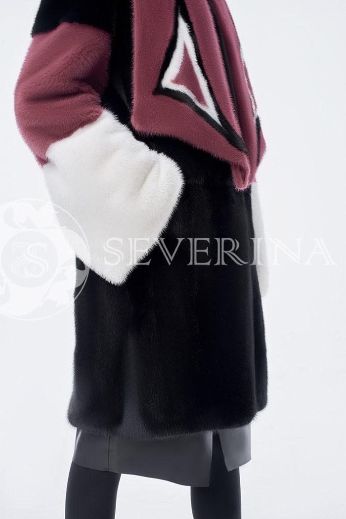 doletskiy 0841 700x1050 - шуба из комбинированного цветного меха норки со съёмным воротником-шарфом