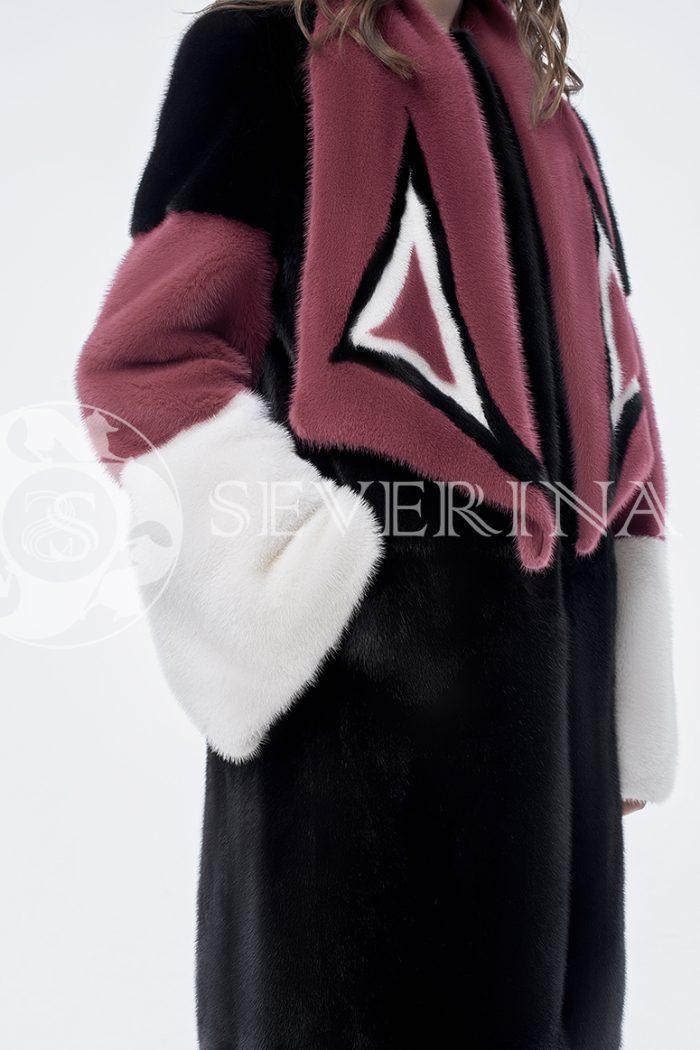 doletskiy 0843 700x1050 - шуба из комбинированного цветного меха норки со съёмным воротником-шарфом