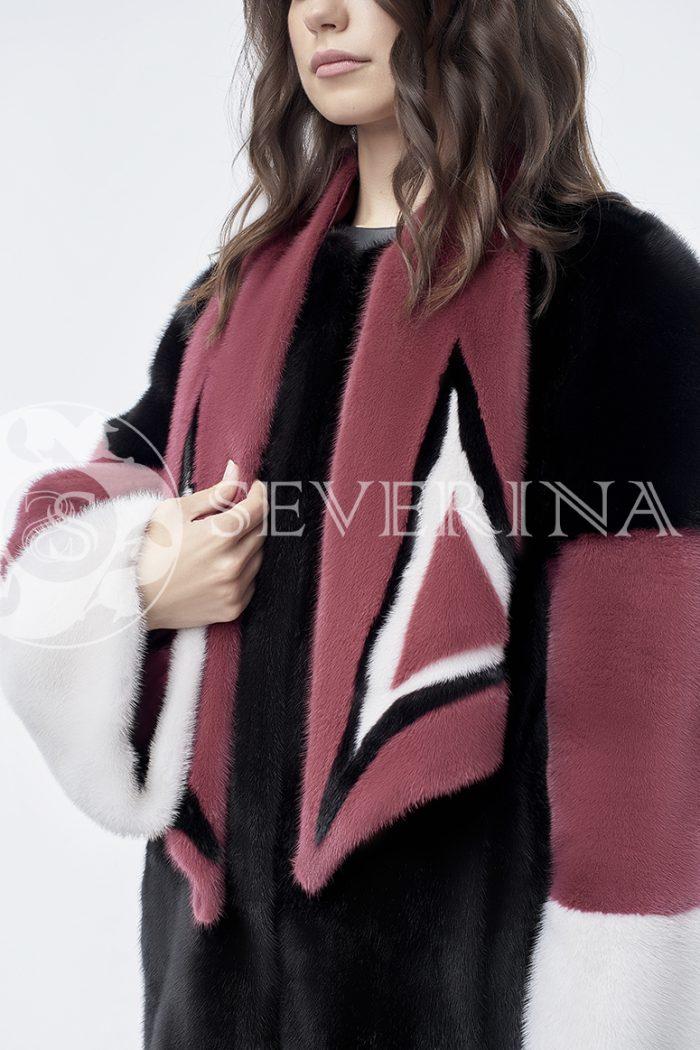 doletskiy 0846 700x1050 - шуба из комбинированного цветного меха норки со съёмным воротником-шарфом