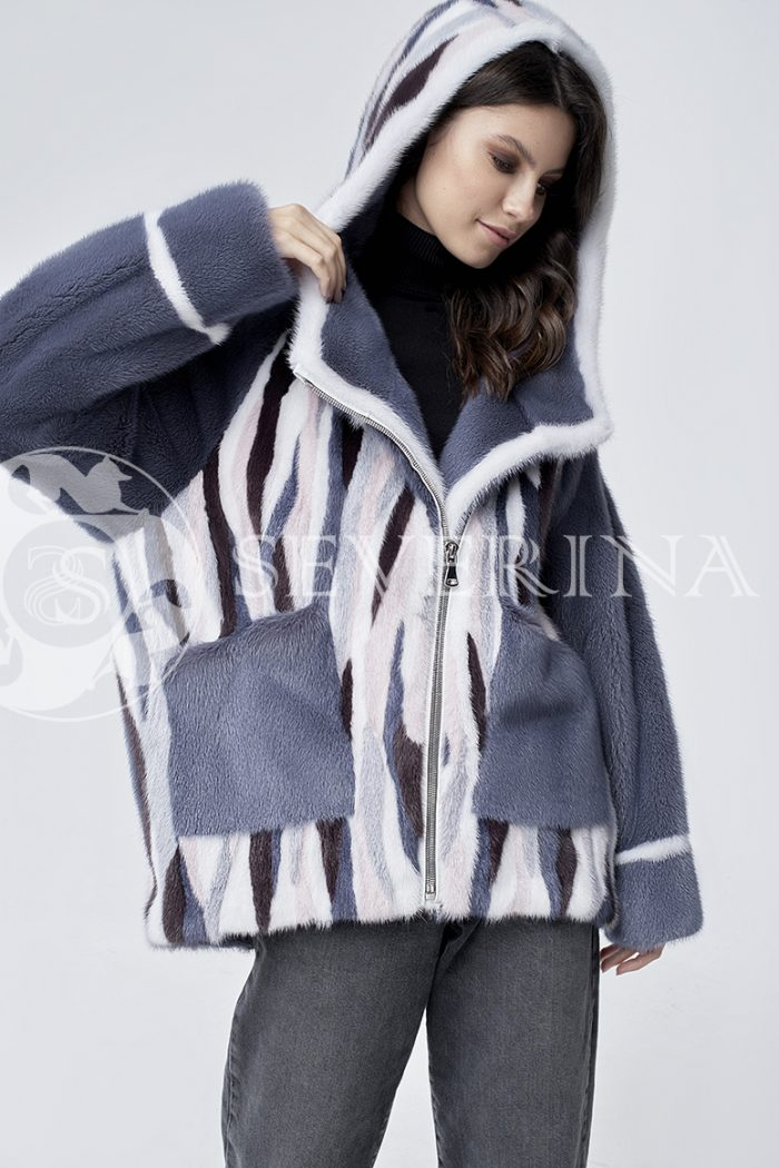 шуба-куртка из цветного меха норки в стиле «пэчворк»