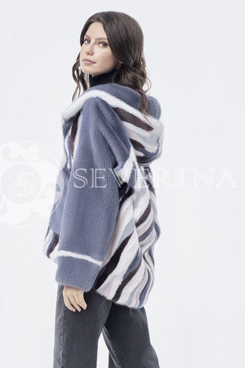 шуба из меха норки светло-бирюзового цвета с отделкой норкой white