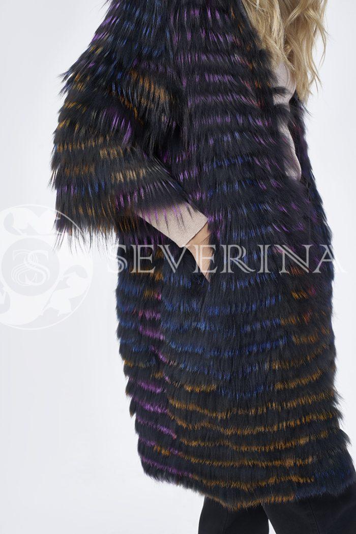 шуба из цветного меха лисы