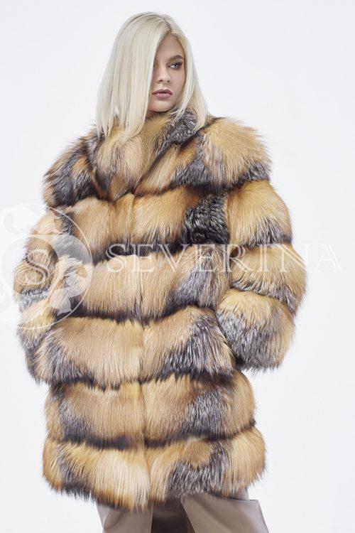 doletskiy 0254 500x750 - шуба из меха норки бирюзового цвета с отделкой из меха серебристо-черной лисы
