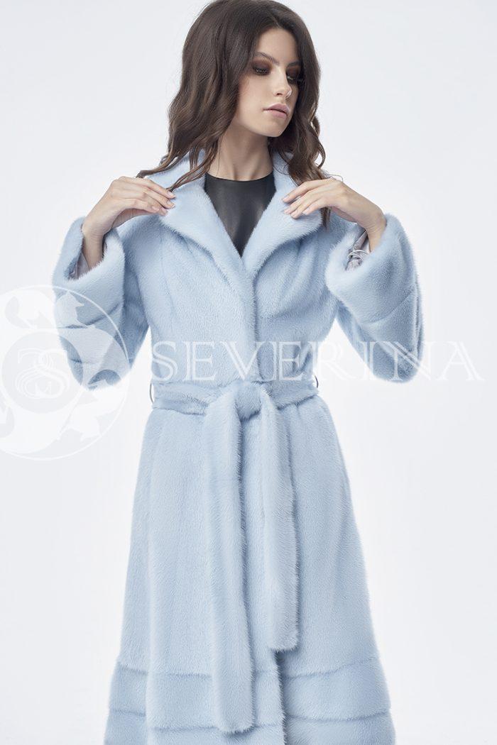 шуба из меха скандинавской норки нежно-голубого цвета
