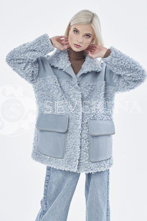 куртка из комбинированного меха овчины