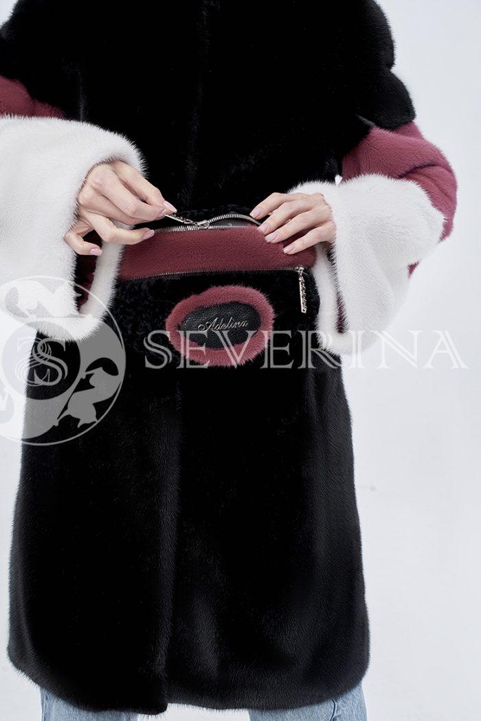 шуба из комбинированного цветного меха норки с поясной меховой сумкой
