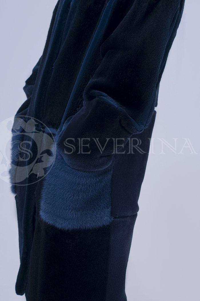 шуба из стриженного меха бобра с отделкой из меха норки