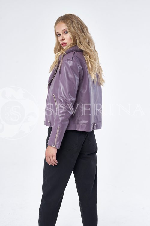 """куртка """"косуха"""" с выработкой по рептилию и отделкой из меха норки"""
