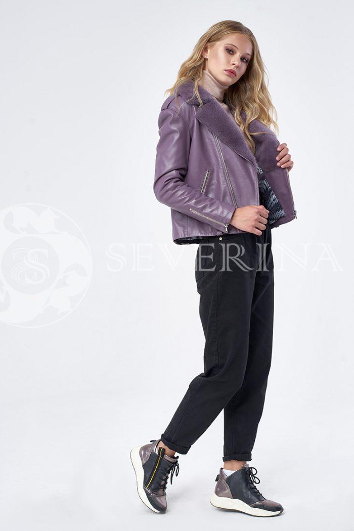 """kosuha lavanda norka 7 700x1050 - куртка из натуральной кожи """"косуха"""" с отделкой из меха норки"""