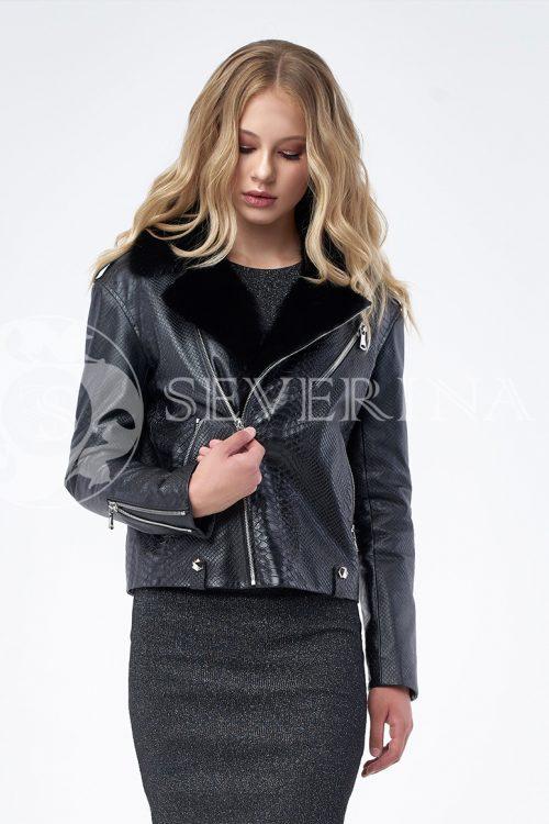 """куртка """"косуха"""" из натуральной кожи с выработкой под рептилию и отделкой из меха норки"""