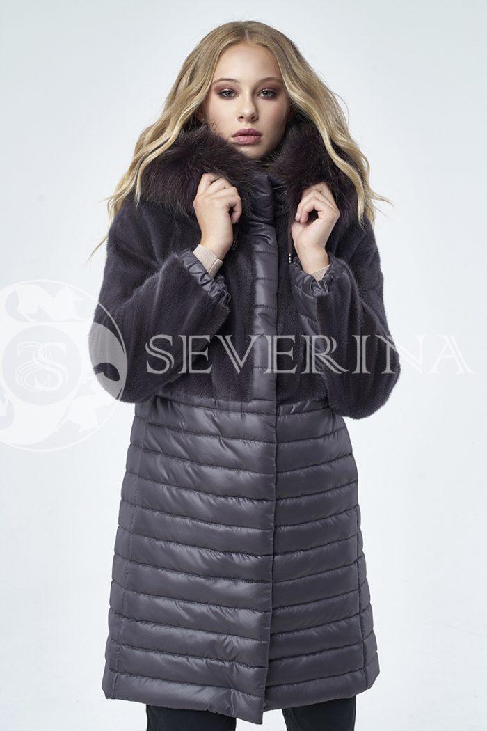 пальто стёганое с отделкой мехом норки и лисы