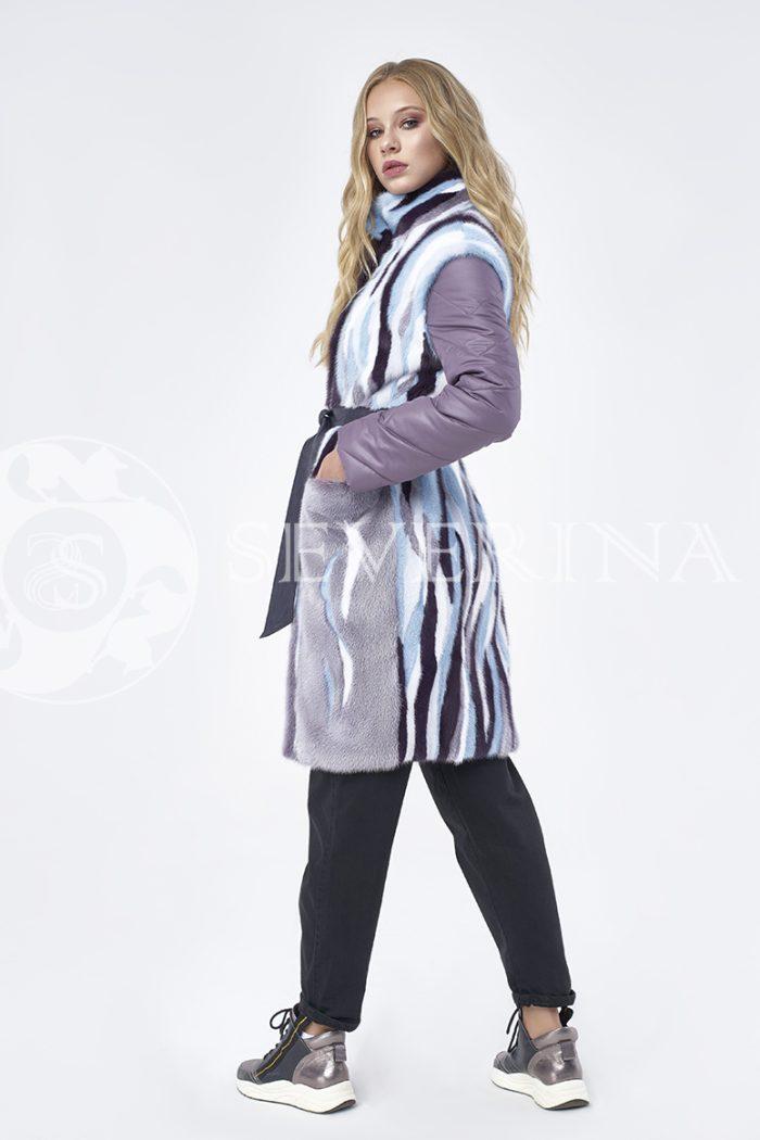 пальто-жилет с инкрустацией цветным мехом норки