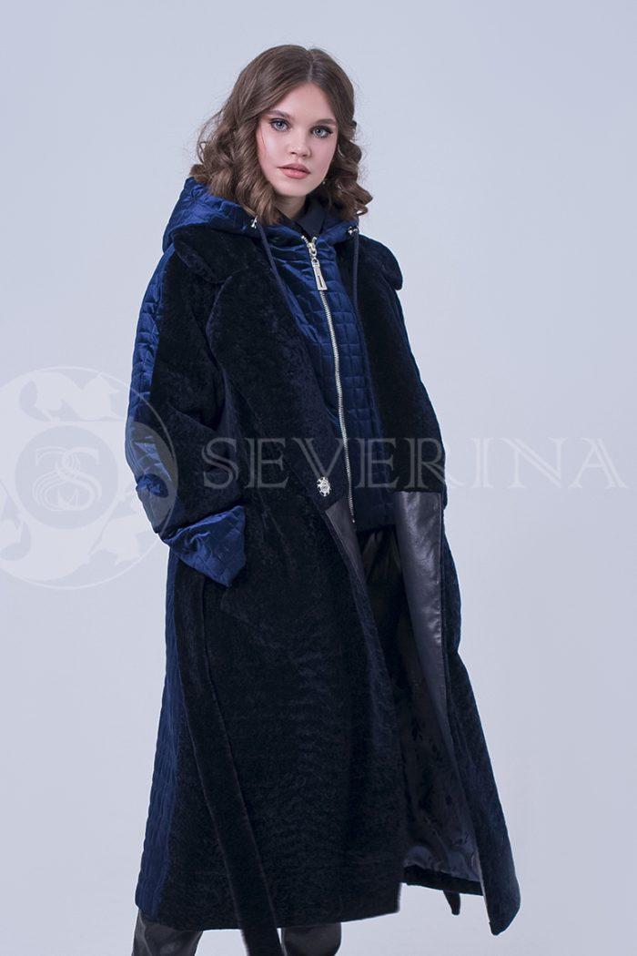 doletskiy 2253 700x1050 - пальто-трансформер из бархатной стёганки комбинированное мехом овчины