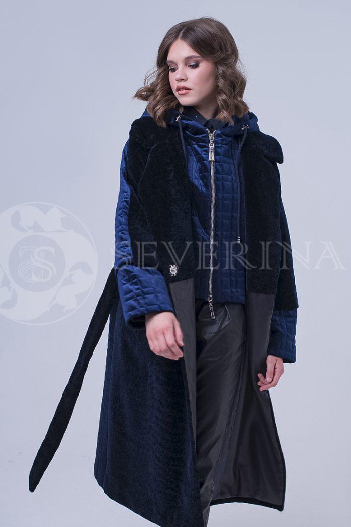 doletskiy 2281 700x1050 - пальто-трансформер из бархатной стёганки комбинированное мехом овчины