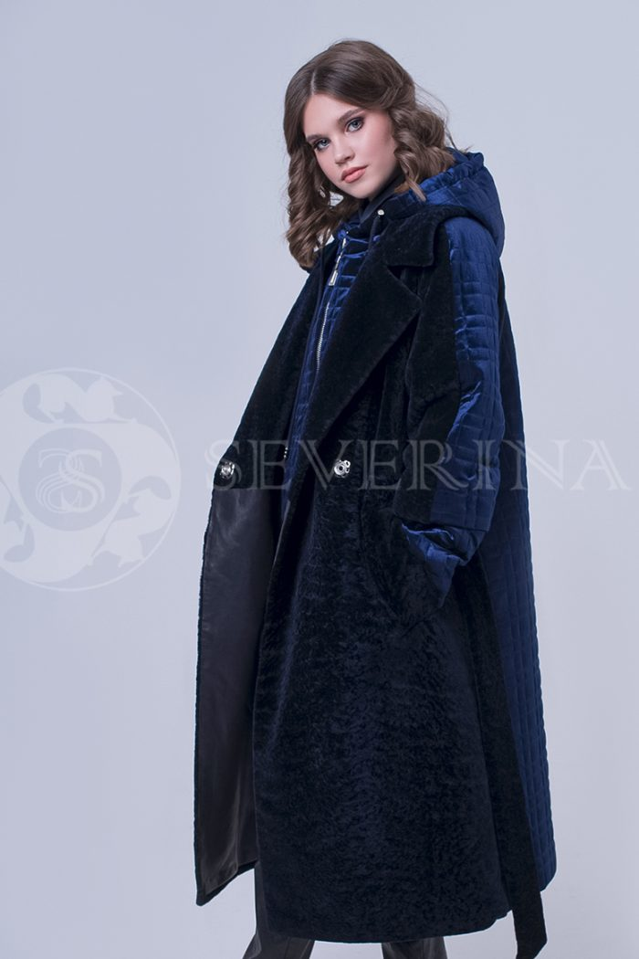 doletskiy 2285 700x1050 - пальто-трансформер из бархатной стёганки комбинированное мехом овчины