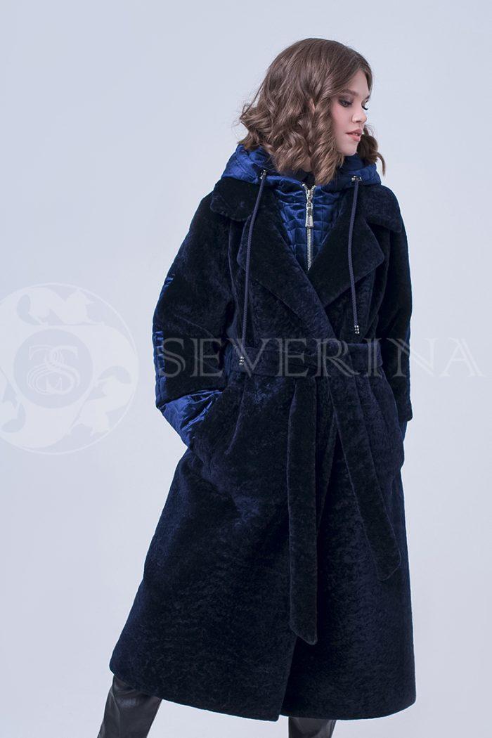 doletskiy 2301 700x1050 - пальто-трансформер из бархатной стёганки комбинированное мехом овчины