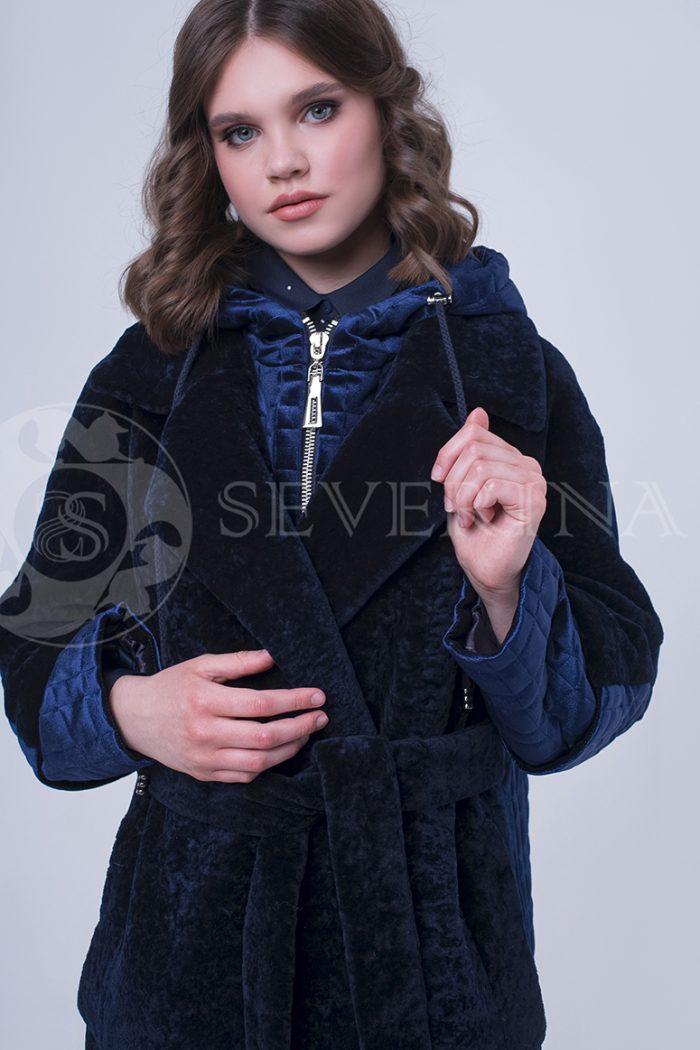 doletskiy 2327 700x1050 - пальто-трансформер из бархатной стёганки комбинированное мехом овчины