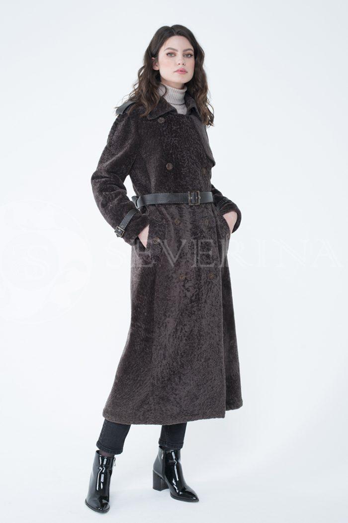 lev301754 1 700x1050 - пальто-тренч из меха овчины с кожаной отделкой