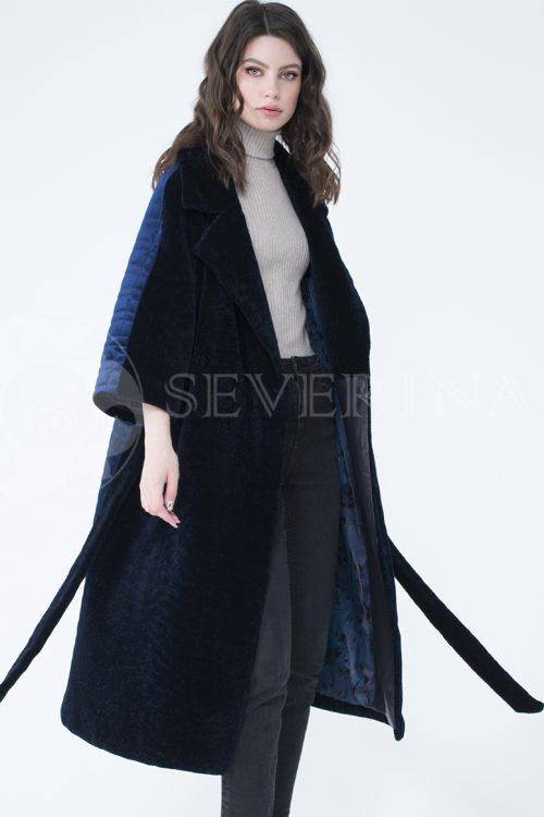 пальто-трансформер из бархатной стёганки комбинированное мехом овчины