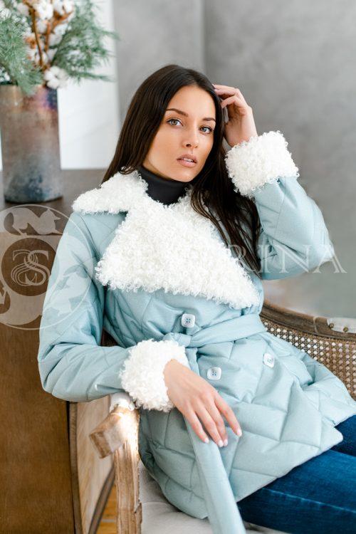 063  500x750 - куртка с английским воротником и манжетами из меха козлика