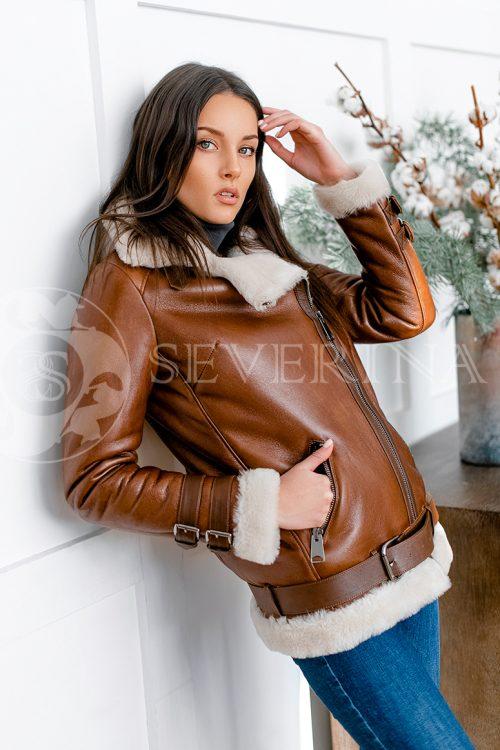 """074 500x750 - куртка из натуральной кожи """"косуха"""" с отделкой мехом козлика"""