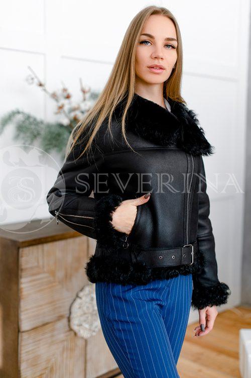 """081 500x752 - куртка-дубленка из натуральной кожи """"косуха"""" с отделкой мехом козлика"""