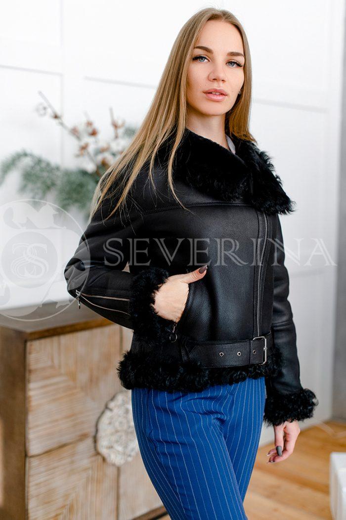 """081 700x1052 - куртка-дубленка из натуральной кожи """"косуха"""" с отделкой мехом козлика"""