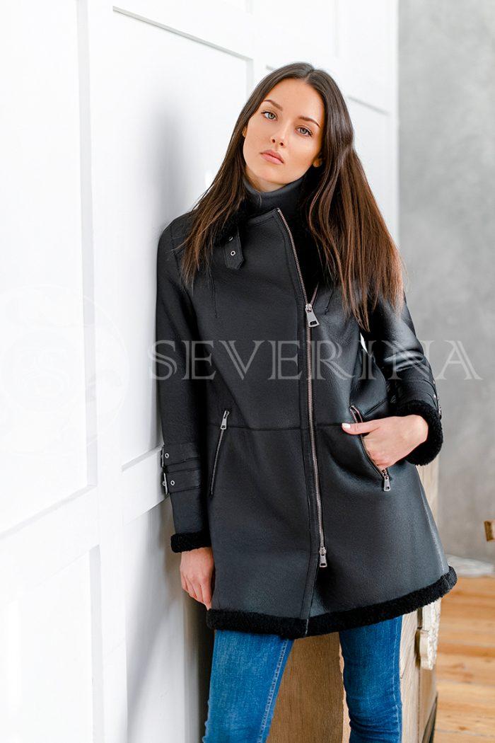 """084 700x1050 - куртка-дубленка из натуральной кожи удлиненная """"косуха"""" с отделкой мехом овчины"""