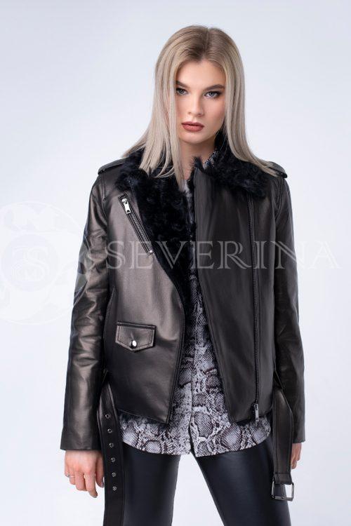 """doletskiy 0275 500x750 - куртка из натуральной кожи """"косуха"""" с отделкой мехом козлика"""
