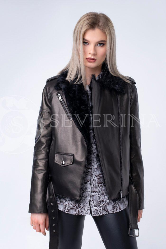 """doletskiy 0275 700x1050 - куртка из натуральной кожи """"пилот"""" с отделкой мехом козлика"""
